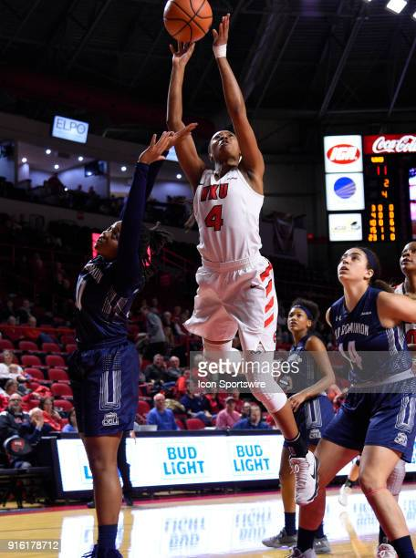 Western Kentucky Lady Toppers forward Dee Givens shoots over Old Dominion Lady Monarchs guard Taylor Edwards during the first period of the Old...
