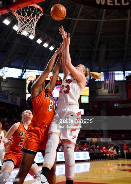 Western Kentucky Lady Toppers forward Ivy Brown shoots as UTSA Roadrunners forward Marie Benson defends during the first period during the women's...