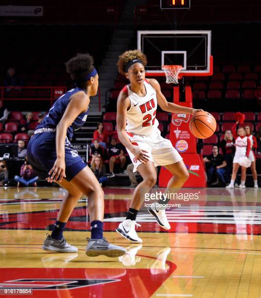 Western Kentucky Lady Toppers guard Sherry Porter dribbles the ball during the first period of the Old Dominion Lady Monarchs game versus the Western...