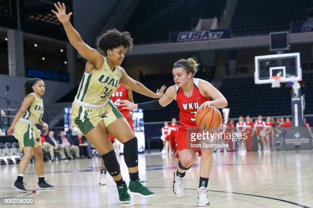 Western Kentucky Lady Toppers guard Sidnee Bopp is guarded by UAB Blazers forward Imani Johnson during the Conference USA Women's Basketball...