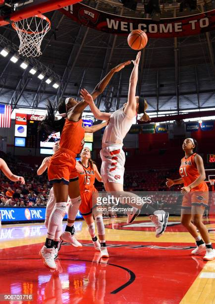 Western Kentucky Lady Toppers guard Whitney Creech shoots and gets fouled by UTSA Roadrunners guard Crystal Chidomere during the fourth period during...