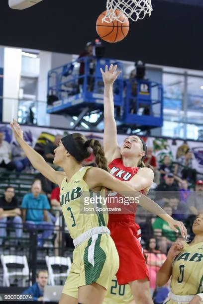 Western Kentucky Lady Toppers guard Whitney Creech shoots over UAB Blazers guard Angela Vendrell during the Conference USA Women's Basketball...