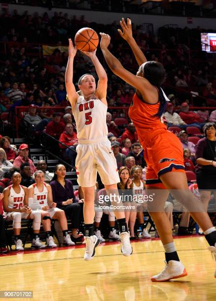 Western Kentucky Lady Toppers guard Whitney Creech shoots over UTSA Roadrunners guard Crystal Chidomere during the third period during the women's...