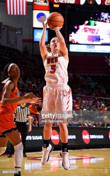 Western Kentucky Lady Toppers guard Whitney Creech takes a jump shot during the third period during the women's college basketball game between the...