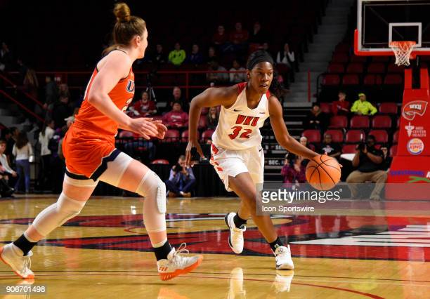 Western Kentucky Lady Toppers guard/forward Kayla Smith dribbles the ball as UTSA Roadrunners forward Marie Benson guards during the first period...