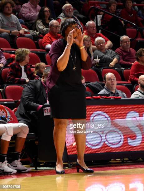 Western Kentucky Lady Toppers head coach Michelle ClarkHeard yells to her players to play defense during the third period during the women's college...