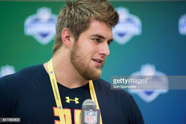 Western Kentucky offensive lineman Forrest Lamp answers questions from the podium during the NFL Scouting Combine on March 2 2017 at Lucas Oil...