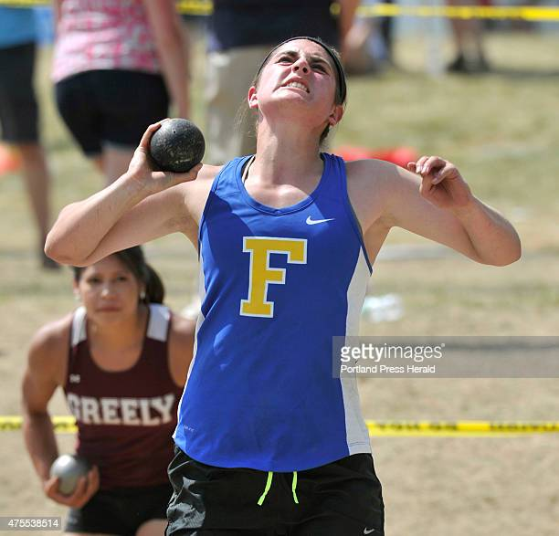 Western Maine Conference track meet at Lake Region High School Falmouth's Adelaide Cooke threw the Shot Put well enough to place second in the event...