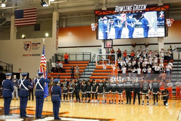 Western Michigan Broncos center Marley Hill far right kneels during the playing of the national anthem prior to the start of a regular season...