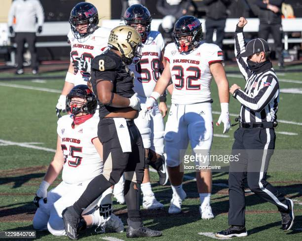 Western Michigan Broncos defensive tackle Ralph Holley reacts after a play during the college football game between the Northern Illinois Huskies and...