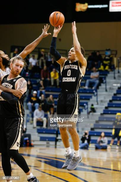 Western Michigan Broncos guard Bryce Moore shoots a jump shot during the first half of a regular season MidAmerican Conference game between the...