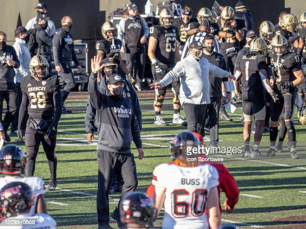 Western Michigan Broncos head coach Tim Lester reacts after the college football game between the Northern Illinois Huskies and Western Michigan...