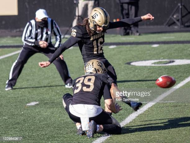 Western Michigan Broncos kicker Thiago Kapps kicks the ball during the college football game between the Northern Illinois Huskies and Western...