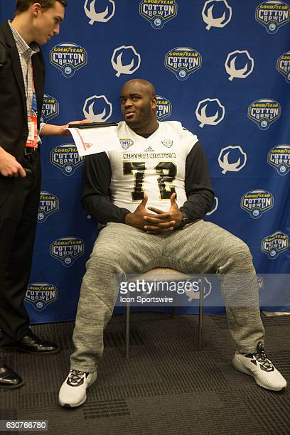 Western Michigan Broncos offensive lineman Taylor Moton during the Cotton Bowl Classic Western Michigan Media day on December 31 2016 at ATT Stadium...