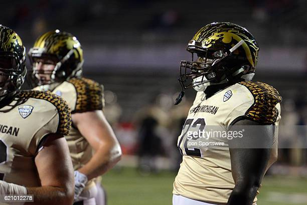Western Michigan Broncos Offensive Lineman Taylor Moton looks on during pregame warm ups for the MidAmerican Conference football game on November 1...
