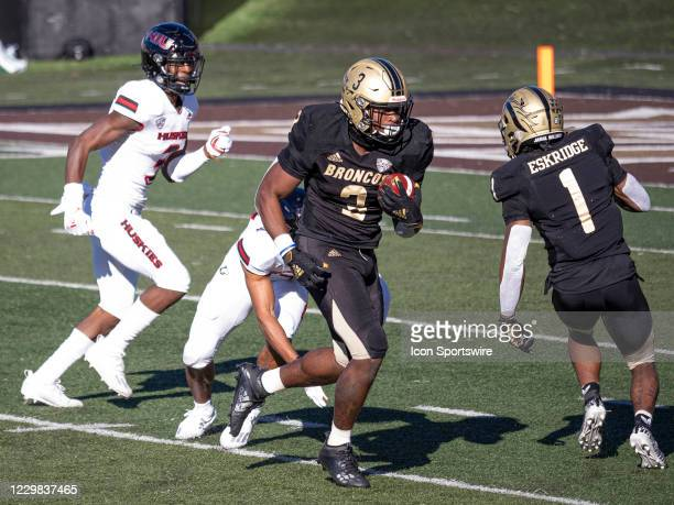 Western Michigan Broncos running back La'Darius Jefferson runs the ball for positive yards during the college football game between the Northern...