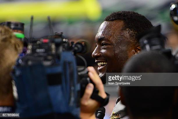 Western Michigan Broncos Wide Receiver Corey Davis is interviewed after the conclusion of the MAC Championship game between the Ohio Bobcats and the...