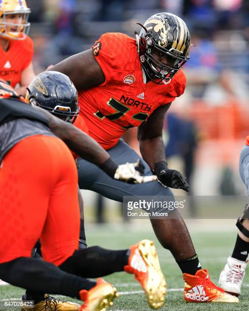 Western Michigan Tackle Taylor Moton of the North Team during the 2017 Resse's Senior Bowl at LaddPeebles Stadium on January 28 2017 in Mobile...