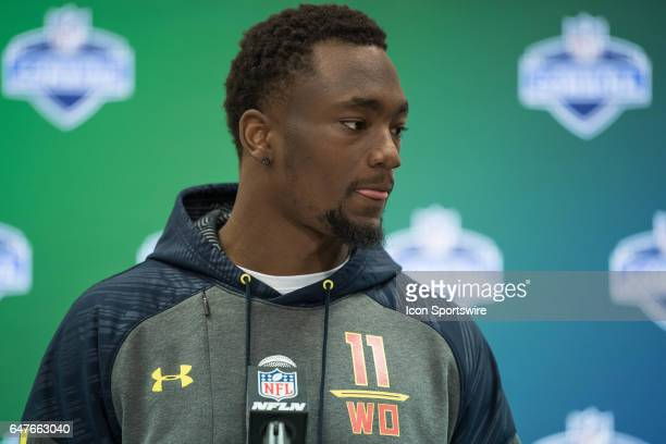 Western Michigan wide receiver Corey Davis answers questions from the media during the NFL Scouting Combine on March 3 2017 at Lucas Oil Stadium in...