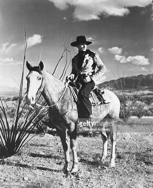 Western movie star Gary Cooper in a promotional photo for the film, 'The Westerner,' Hollywood, California, 1940.