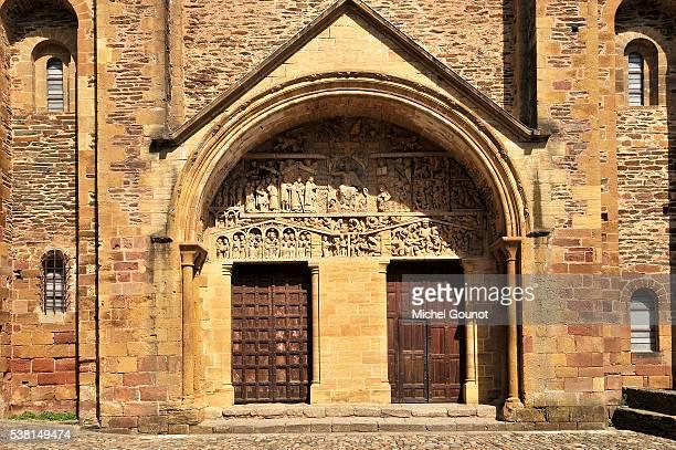 Western portal. Tympanum: the Last Judgment. Tympanum of Sainte-Foy de Conques abbey church.