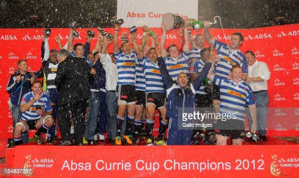 Western Province celebrate with the trophy after winning the Absa Currie Cup final match between The Sharks and DHL Western Province from Mr Price...
