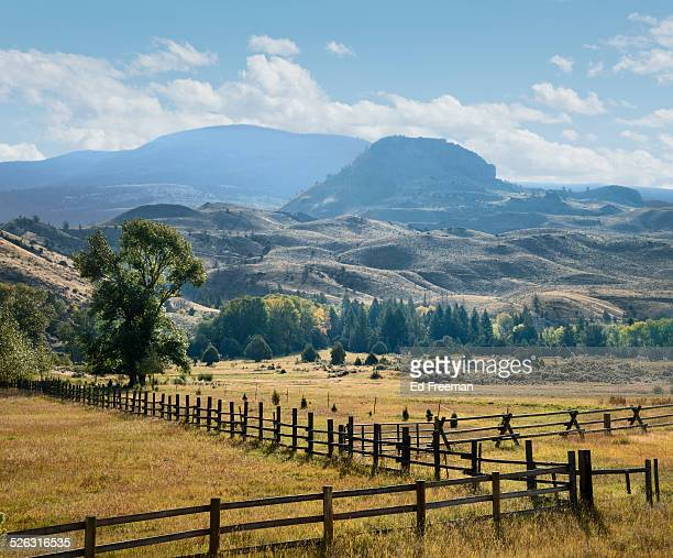 western ranch, fences and mountains - montana western usa stock pictures, royalty-free photos & images