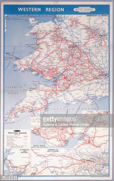 Western Region - Map of the System', BR poster, 1958. Poster produced for British Railways Western Region , showing a map indicating routes between...