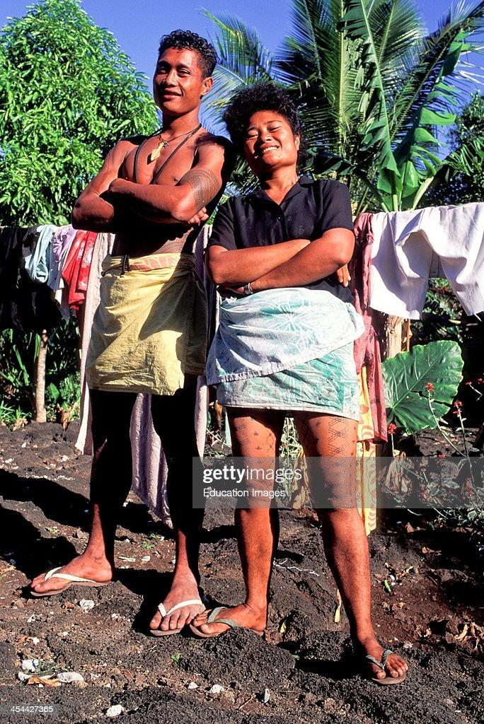 Western Samoa Island Of Savai I Portrait Samoan With Tattoos