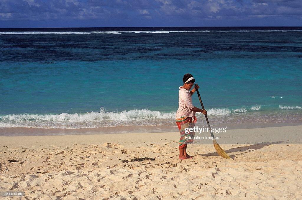 Upolu Lalomanu Samoan Woman Sweeping