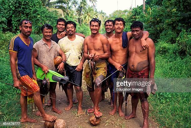 Western Samoa Island Of Upolu Southern CoaSt Vavau Group Portrait Of Spear fishermen