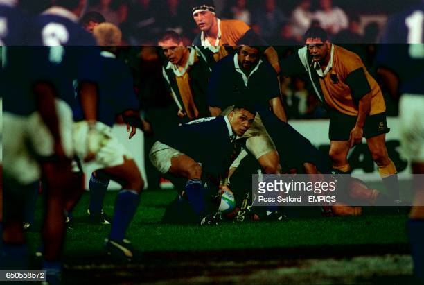 Western Samoa's Jon Clarke releases the ball from a maul