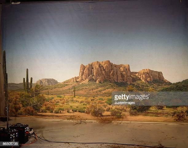 western scenery backdrop - set cinematografico foto e immagini stock