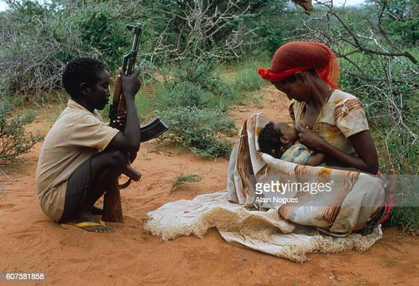 Western Somalia Liberation Front guerillas live with their families at a military camp in Somalia. The struggle continues with Ethiopians for the...