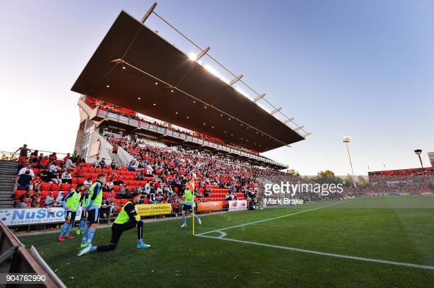 Western stand during the round 16 ALeague match between Adelaide United and Sydney FC at Coopers Stadium on January 14 2018 in Adelaide Australia