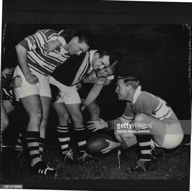 Western Suburbs Rugby League Training.Jack Fitzgerald instructs the West's pack in the new scrum rule. Left to Right, John Hayes, Wal Hinkley and...