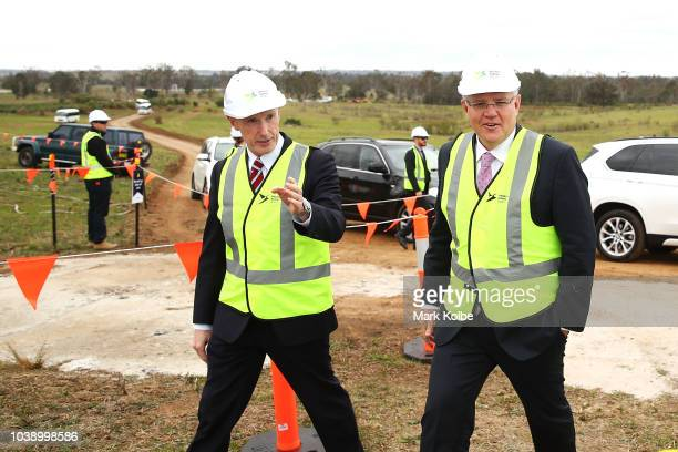 Western Sydney Airport Chair Paul O'Sullivan and Prime Minister Scott Morrison arrive before a media opportunity where the order for work to commence...