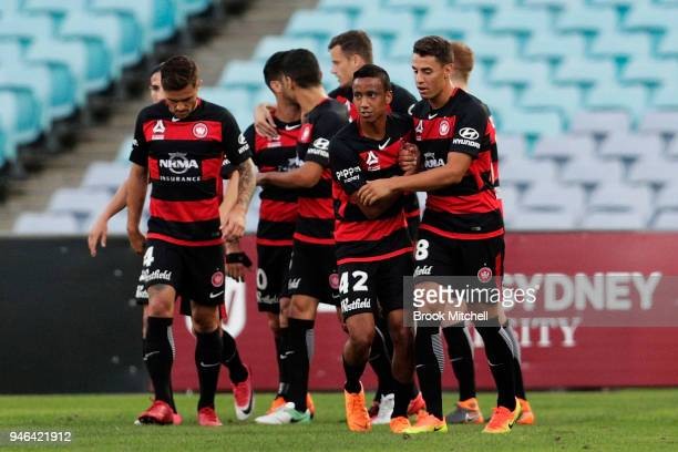 Western Sydney celebrate the first goasl of the match during the round 27 ALeague match between the Western Sydney Wanderers and Adelaide United at...