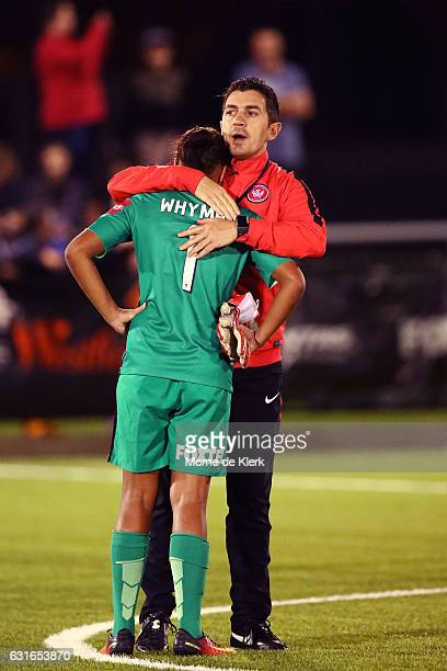 Western Sydney goalkeeper coach Davide Del Giovine consoles goalkeeper Jada MathyssenWhyman of Western Sydney after the round 12 WLeague match...