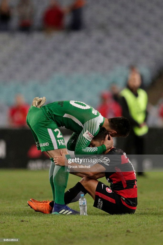 Western Sydney players show disappointment after losing the round 27 A-League match between the Western Sydney Wanderers and Adelaide United at ANZ Stadium on April 15, 2018 in Sydney, Australia.