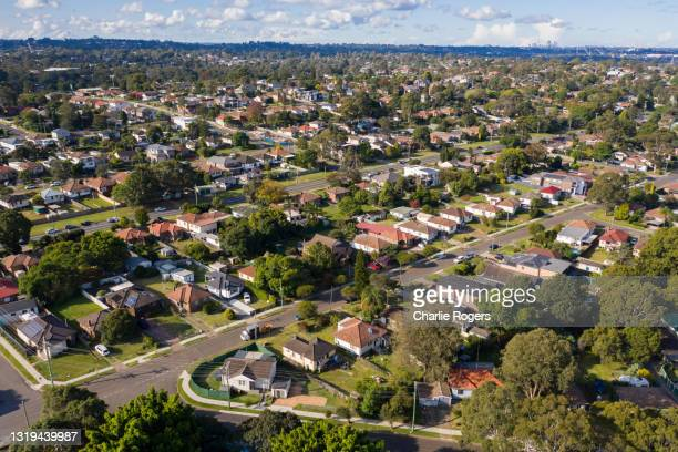 western sydney residential suburb aerial - housing difficulties stock pictures, royalty-free photos & images