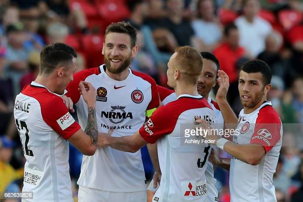 Western Sydney Wanderers celebrate a goal during the round 25 ALeague match between the Newcastle Jets and the Western Sydney Wanderers at McDonald...