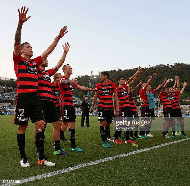 Western Sydney Wanderers celebrate the win during the round nine A-League match between Central Coast Mariners and the Western Sydney Wanderers at...