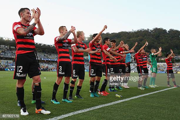 Western Sydney Wanderers celebrate the win during the round nine ALeague match between Central Coast Mariners and the Western Sydney Wanderers at...