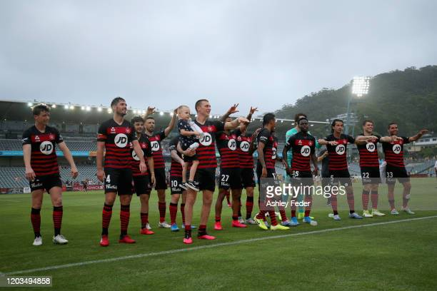 Western Sydney Wanderers celebrate the win with fans during the round 17 A-League match between the Central Mariners and the Western Sydney Wanderers...