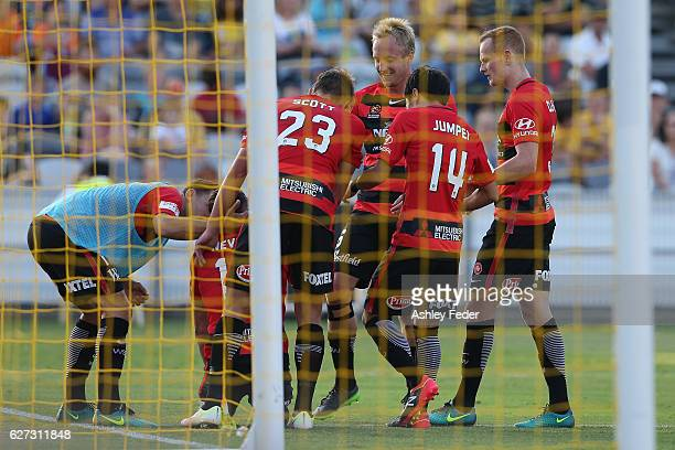 Western Sydney Wanderers celebrate their third goal during the round nine A-League match between Central Coast Mariners and the Western Sydney...