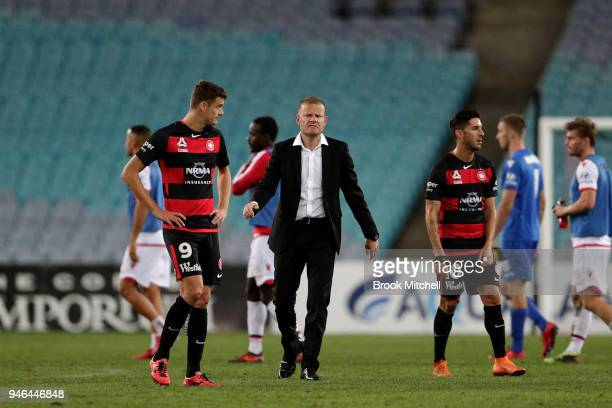 Western Sydney Wanderers coach Josep Gombau shows his disappointment during after the round 27 ALeague match between the Western Sydney Wanderers and...