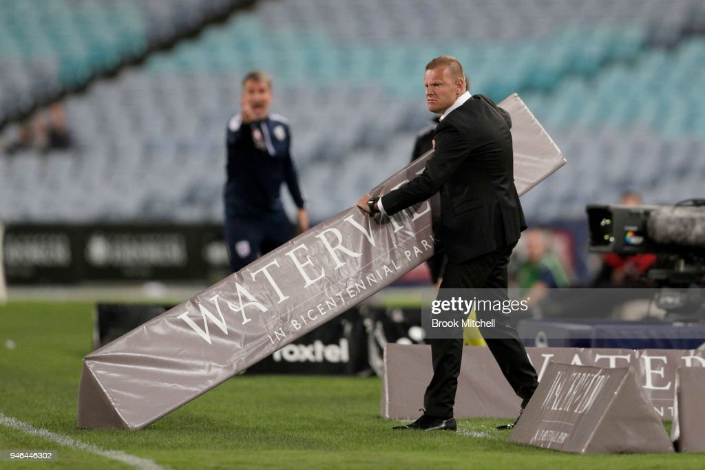 Western Sydney Wanderers coach Josep Gombau shows his frustration during the round 27 A-League match between the Western Sydney Wanderers and Adelaide United at ANZ Stadium on April 15, 2018 in Sydney, Australia.