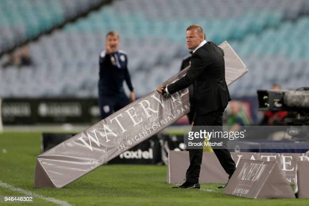 Western Sydney Wanderers coach Josep Gombau shows his frustration during the round 27 ALeague match between the Western Sydney Wanderers and Adelaide...