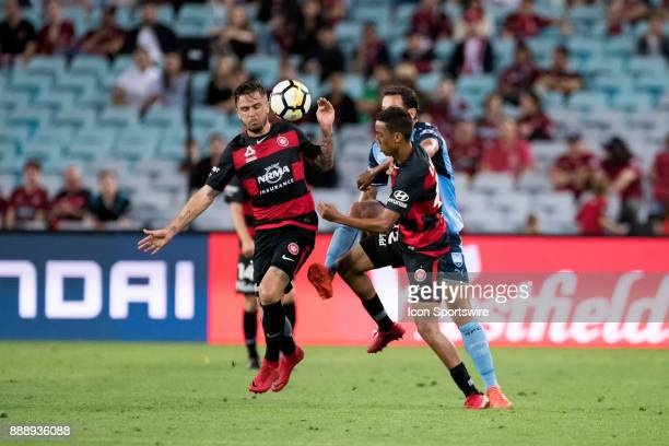 Western Sydney Wanderers defender Josh Risdon Western Sydney Wanderers midfielder Keanu Baccus and Sydney FC forward Bobo go for the ball at the...